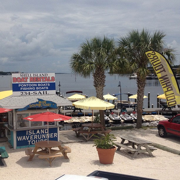 A photo of our meeting place at Treasure Island Marina on Thomas Drive